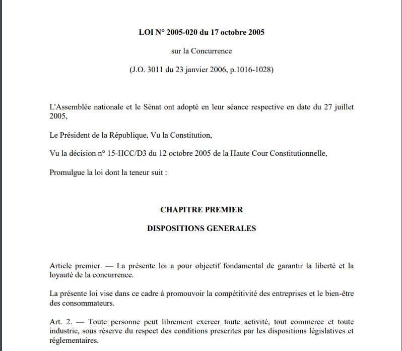Article 2 de la loi 2005-020 du 17 octobre 2005 sur la concurrence à Madagascar : Toute personne peut librement exercer toute activité, tout commerce et toute industrie à Madagascar. La loi prime sur une attestation CISCO produite par le plaignant